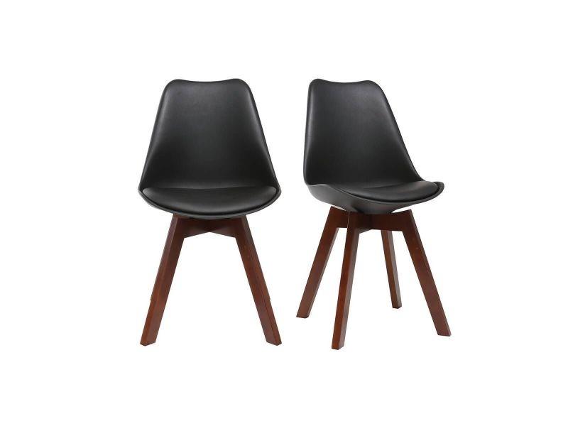 chaises design noires avec pieds bois fonce lot de 2 pauline
