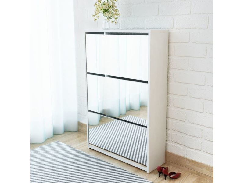 Splendide rangements pour armoires à vêtements edition vilnius meuble à chaussures 3 étagères 63 x 17 x 102,5 cm miroir blanc
