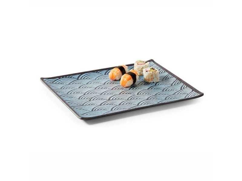 Plat rectangulaire en mélamine motifs bleus 16,5 à 32,5 cm - pujadas - mélamine 32,5 x 17,6 cm