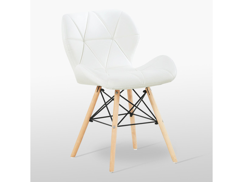 Chaise design en simili cuir blanche - cecilia eiffel