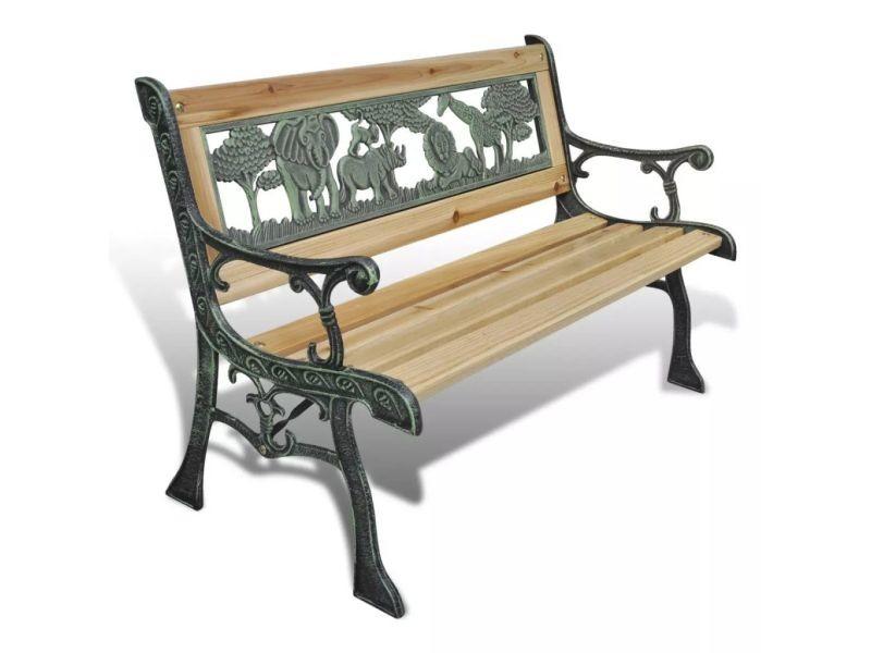 Chic sièges d'extérieur gamme wellington banc de jardin pour enfants design animaux 80 x 24 cm