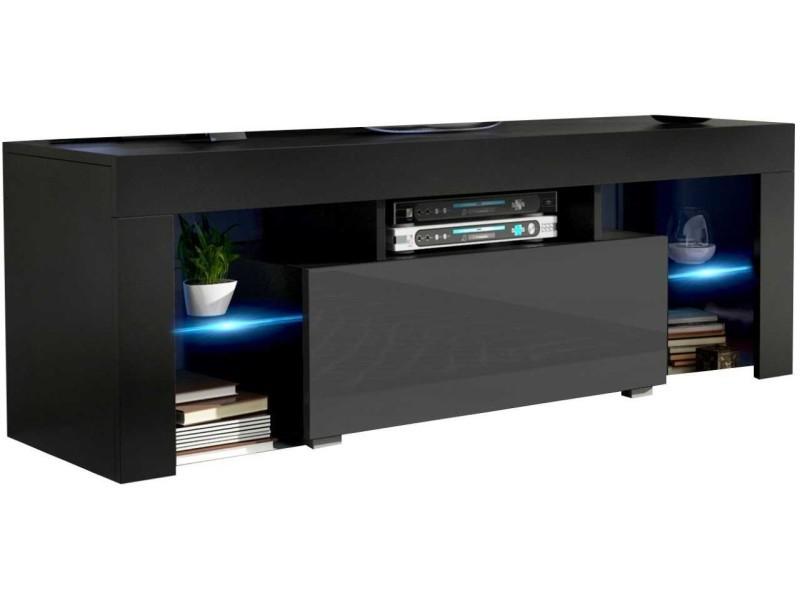 Meuble tv 130 cm noir mat et gris brillant led rgb