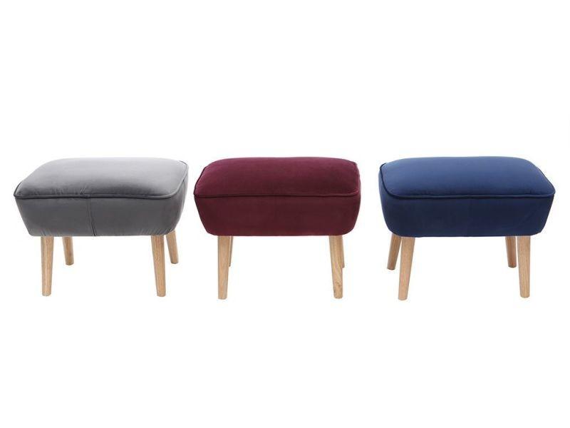 repose pieds velours bleu fonc zola vente de pouf conforama. Black Bedroom Furniture Sets. Home Design Ideas