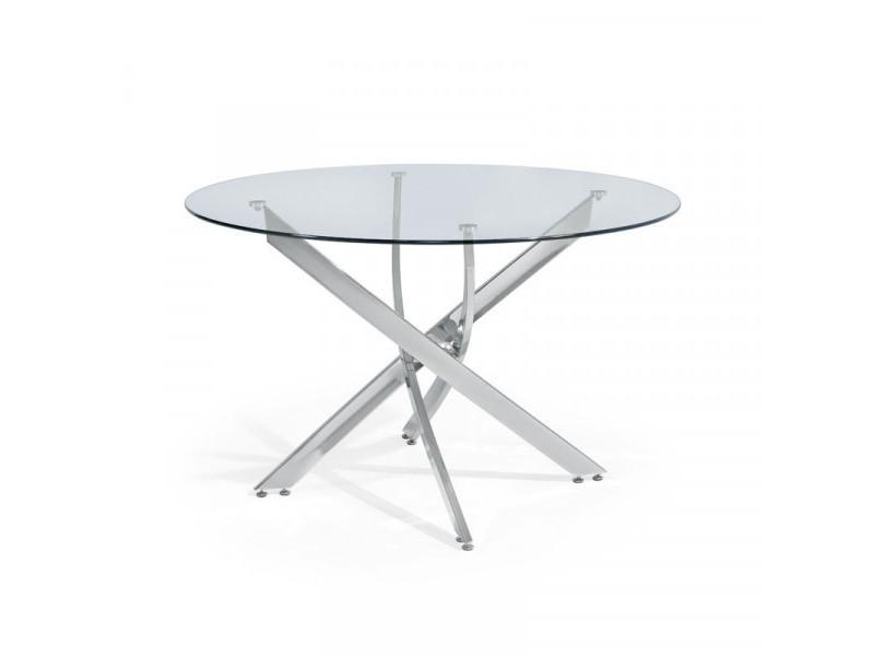 Table ronde en verre 120 cm - pedro - l 120 x l 120 x h 75 cm