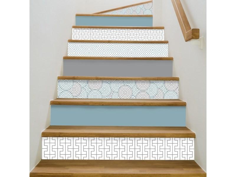 Contremarche escalier pvc mix bleu glace 15x100cm - lot de 5