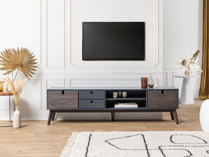 Bobochic meuble tv 180 cm yugo anthracite et bois foncé