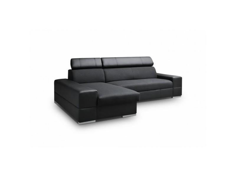 Canapé d'angle convertible capri 4 places noir angle gauche TENDENCIO