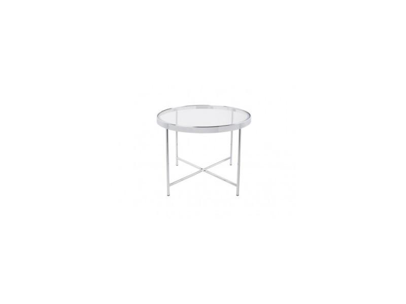 Table basse chrome plateau en verre smooth
