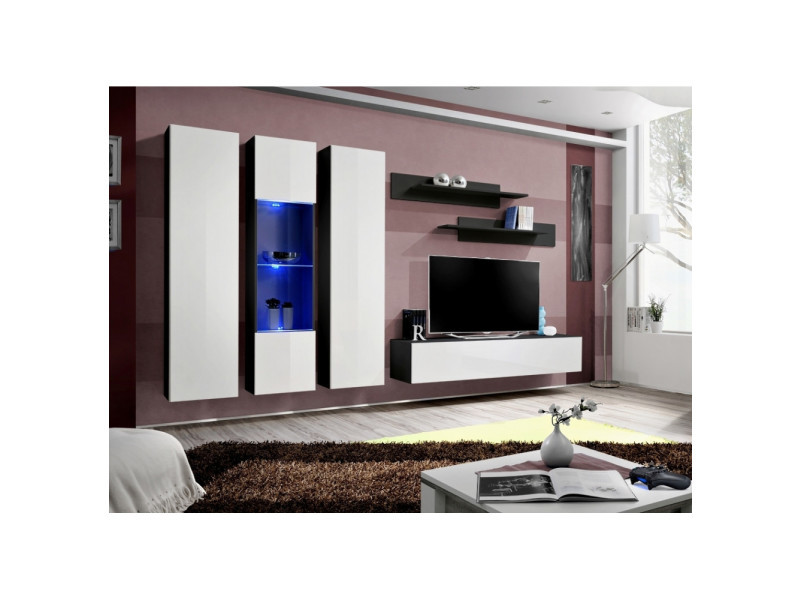 Ensemble meuble tv mural - fly v - 310 cm x 190 cm x 40 cm - noir et blanc