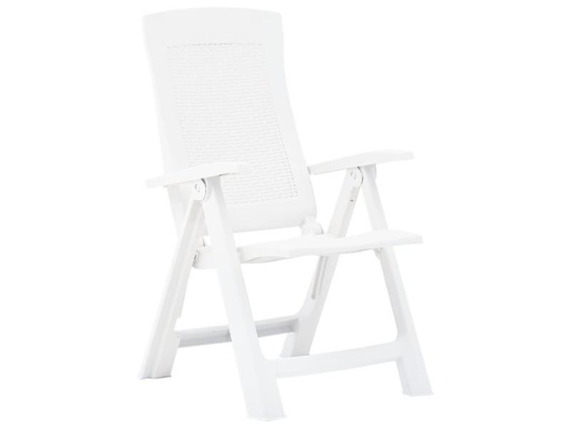 Vidaxl chaises inclinables de jardin 2 pcs plastique blanc 48760