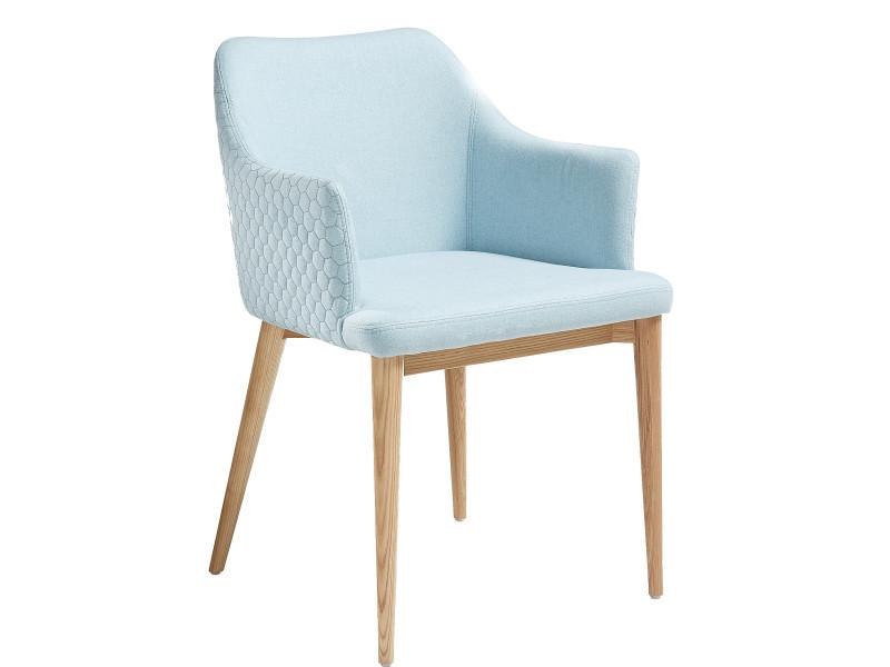 Chaise Bleu Design Scandinave Avec Accoudoirs En Tissu Pietement Bois Massif P 34921 Co C Jenifer