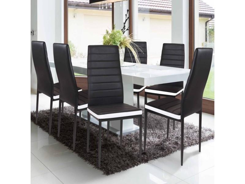 Lot de 6 chaises romane noires bandeau blanc pour salle à ...