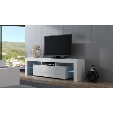 meuble tv spider led en blanc mat avec porte blanc laqu. Black Bedroom Furniture Sets. Home Design Ideas