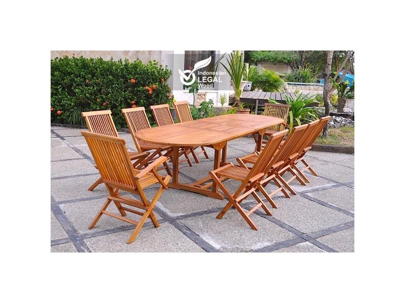 Le togian : salon de jardin teck huilé 12/14 pers. 2 fauteuils 8 chaises + table ovale 300cm 2176