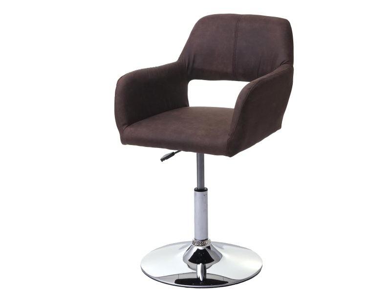 Chaise de salle à manger hwc-a50 iii, style rétro années 50, tissu ~ vintage marron foncé, pied aspect chromé