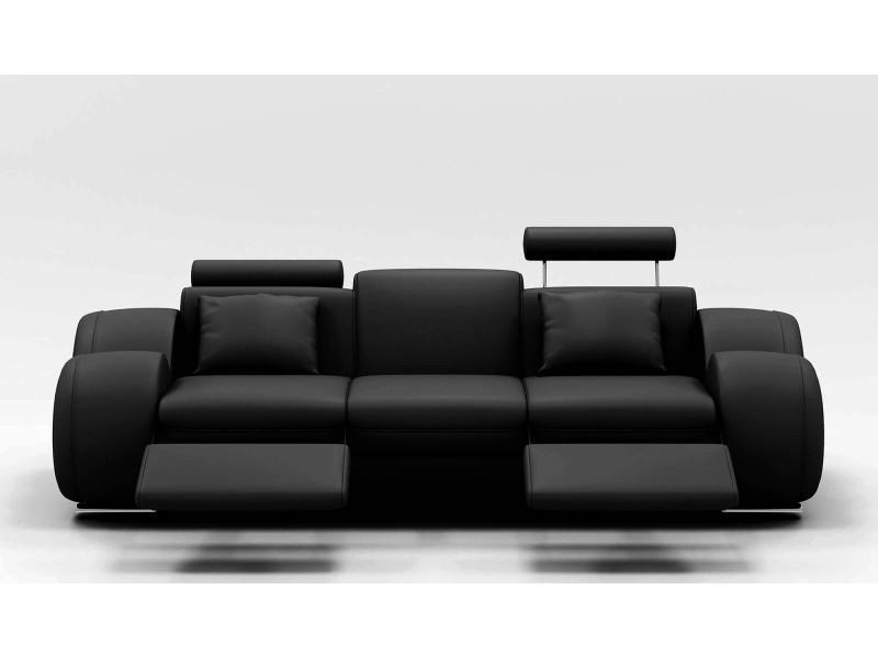 Canapé design 3 places cuir noir + têtières relax oslo-