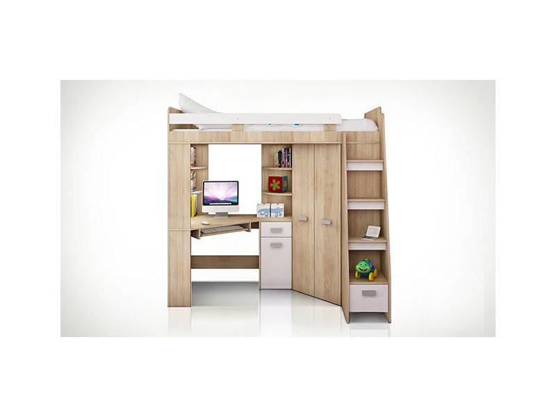 Lit surélevé blanc avec bureau armoire et échelle à droite young