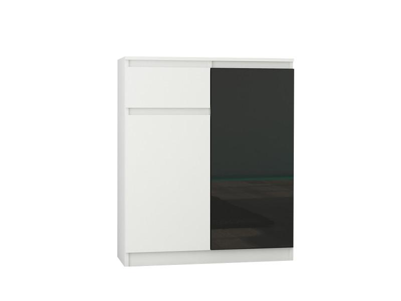 Moscow w1 | buffet moderne salle à manger 98x80x40 cm | commode contemporaine chambre salon bureau | meuble de rangement | blanc/noir laqué