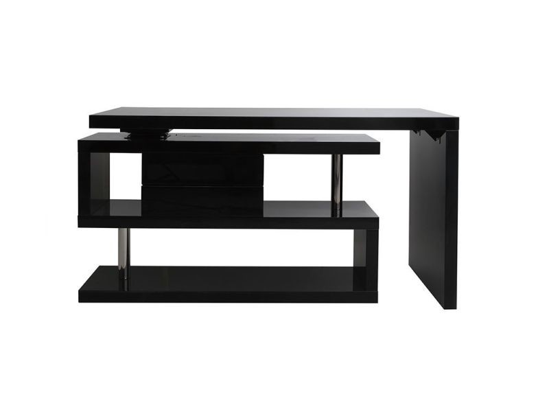 Bureau design modulable avec rangement tiroirs amovible noir