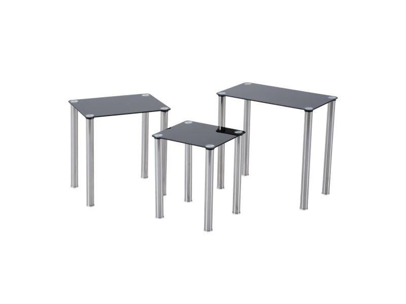 Lot de 3 tables gigognes design contemporain plateau verre tremp rectangulaire noir pieds - Pied de table contemporain ...