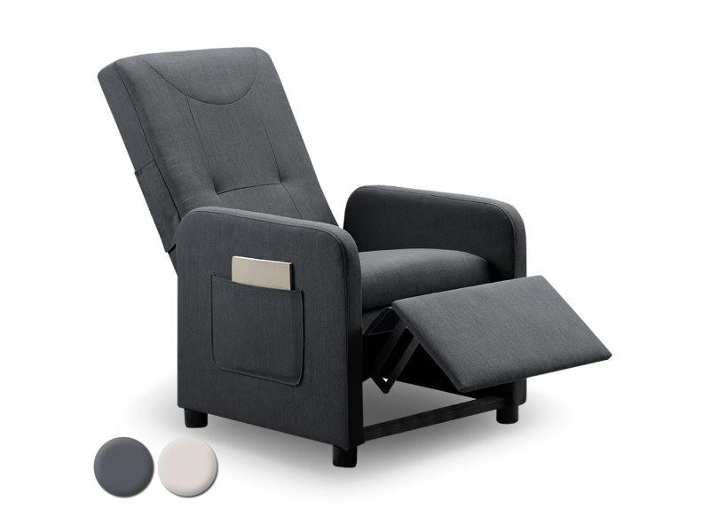 fauteuil relax pliable brio tissu gris vente de menzzo conforama. Black Bedroom Furniture Sets. Home Design Ideas
