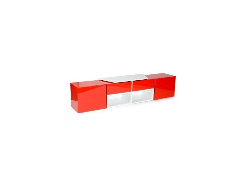 Kero meuble tv extensible en angle 2 portes + 2 tiroirs + 4 niches - blanc/rouge