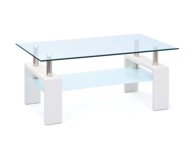 Table basse en mdf laqué blanc avec double verre trempé et métal chromé 8052773487245