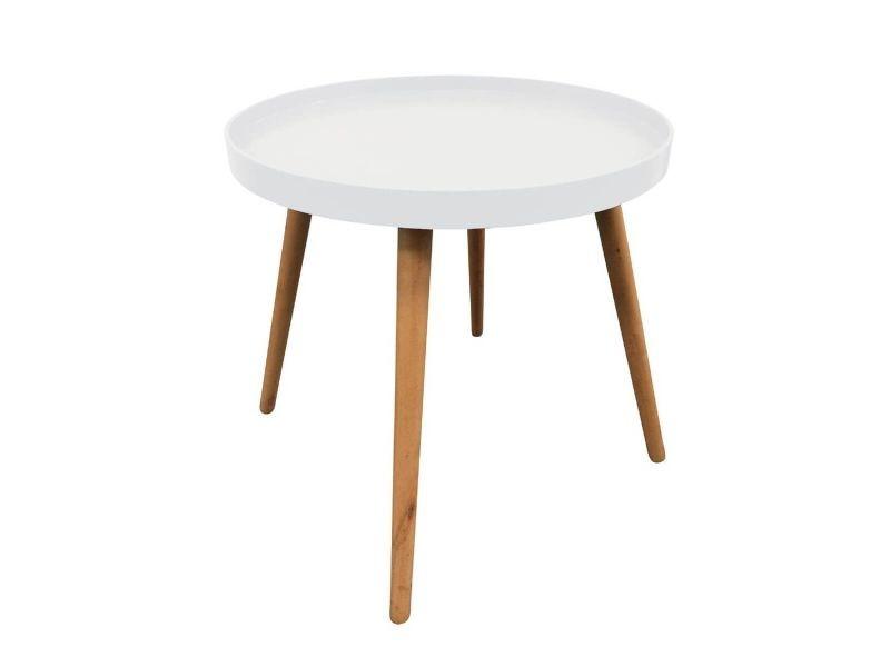 Sahn - table d'appoint ronde blanche et pieds bois massif