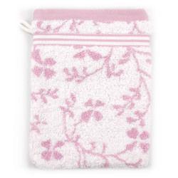 Gant de toilette 16x21 cm vintage floral rose 550 g/m2