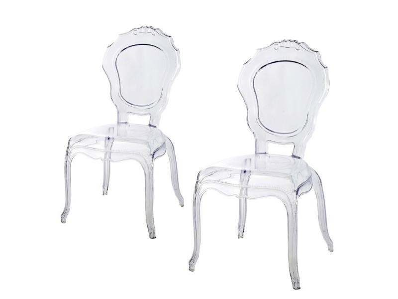 lot de 2 chaises polycarbonate transparent vente de meubler design conforama - Chaise Plexi Transparente Conforama