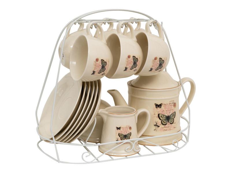 Set de 15 pcs pour petit-déjeuner en porcelaine décorée farfalle