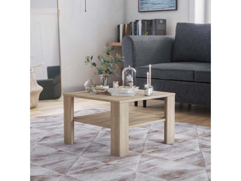 Table basse - crozier - 68x68 cm - chêne sonoma - style scandinave