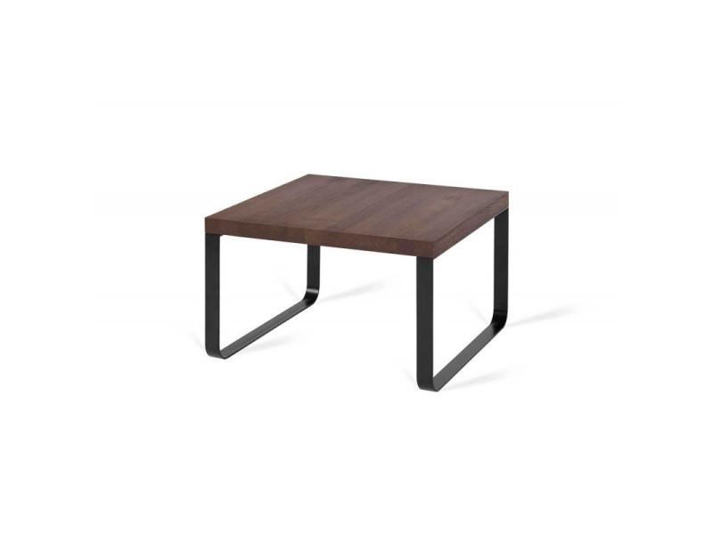 Table basse industrielle métal et bois massif camelia / coloris : chêne foncé