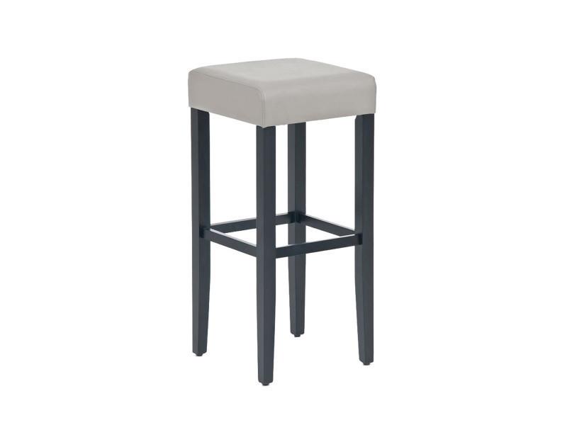 df7ec10ef12618 Tabouret de bar en bois avec siège en polyuréthane noir   gris - 80 x 37 x  37 cm -pegane- - Vente de Chaise de cuisine - Conforama