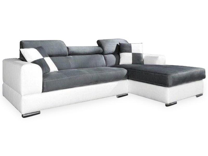 Canapé d'angle awilis simili blanc et tissu gris