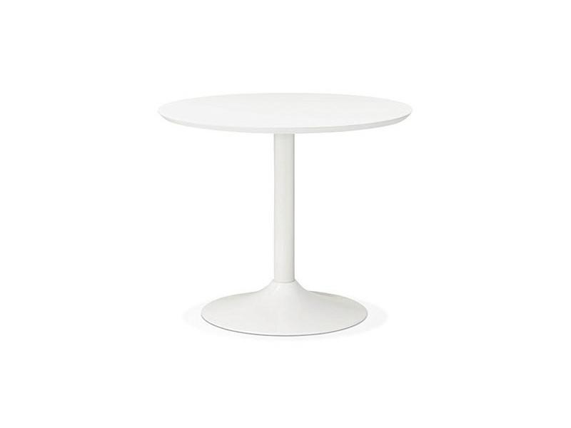 Table à manger ronde 90 cm en bois et métal blanc - franklin