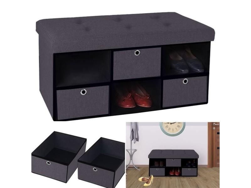 banc coffre tissu 3 tiroirs gris 76x38x38 cm pliable vente de id market conforama. Black Bedroom Furniture Sets. Home Design Ideas