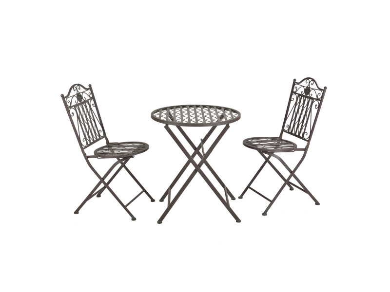 Set de bistrot élégant table ronde et chaises pliables pour jardin terrasse balcon métal vert foncé patine grise claire [en.casa]