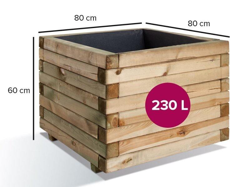 Jardinière carrée en bois maxi volume stockholm 80 0281382