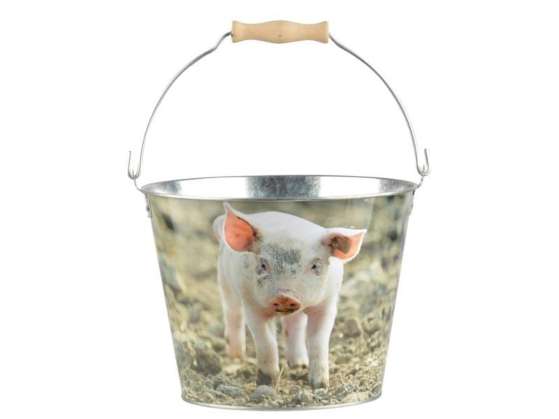 Seau en zinc et bois motif animaux cochon