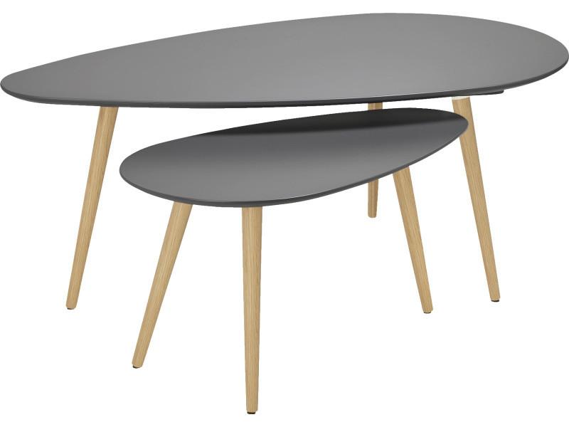 Set de 2 tables basses scandinave ovale grise foncé -pegane-