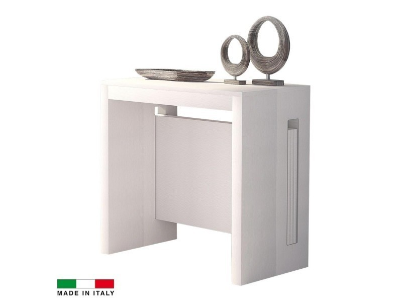 table console extensible grazia 3 allonges int gr es blanc vente de madeinitaly conforama. Black Bedroom Furniture Sets. Home Design Ideas