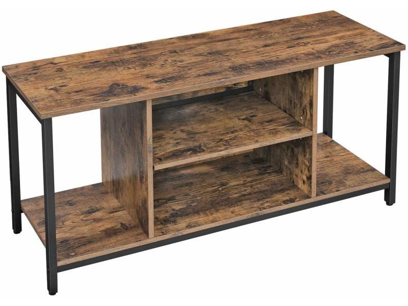 Vasagle meuble tv support télévision avec compartiments de rangement ouverts table console avec étagères pour salon salle de jeu style industriel marron rustique ltv39bx Table console 110 x 40 x 50 cm design industriel