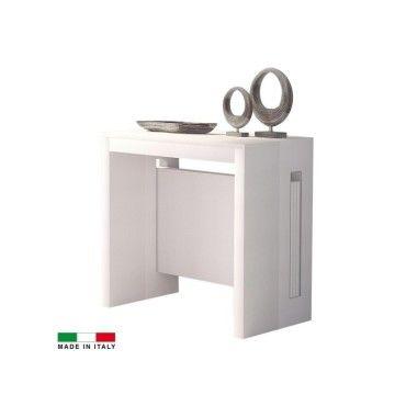 Table console extensible grazia 3 allonges int gr es blanc vente de madeinitaly conforama - Console extensible conforama ...