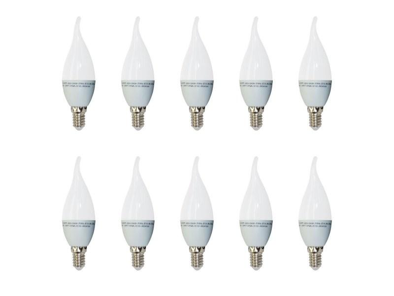 Set x 10 - 4164 - v-tac - ampoule flamme led - culot e14 - 4w consommés (équivalent 30w incandescent) - blanc chaud 2700k - 320 lm - 200 ° angle de faisceau