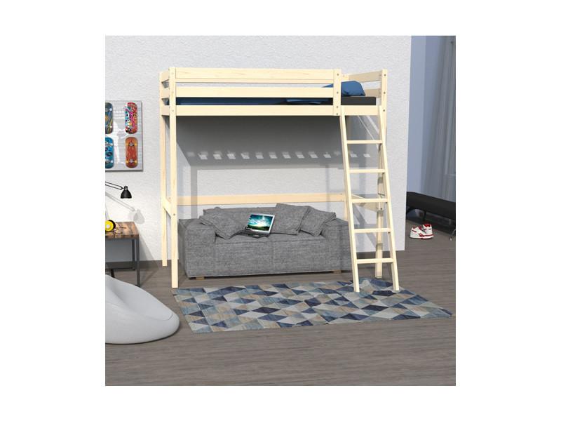 lit mezzanine studio 90x190 1 sommier naturel 32201 vente de lit enfant conforama. Black Bedroom Furniture Sets. Home Design Ideas