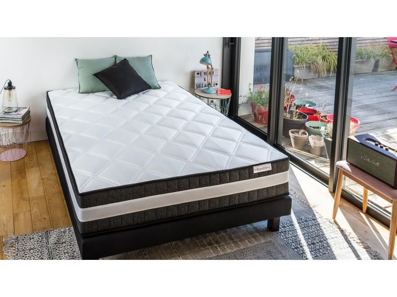 ensemble matelas ressorts ensach s sommier 160x200 spring luxe hbedding mousse haute densit. Black Bedroom Furniture Sets. Home Design Ideas