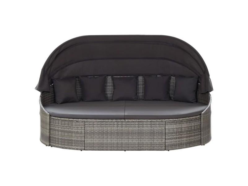 Icaverne - lits d'extérieur edition chaise longue d'extérieur avec auvent résine tressée gris