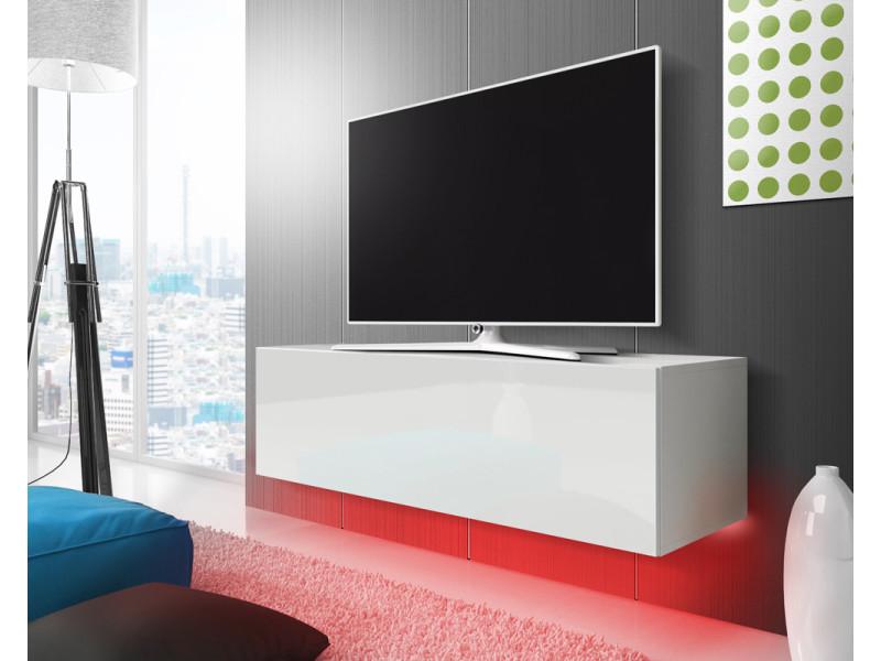 Meuble Tv Suspendu Lana 140 Cm Blanc Mat Fronts Blancs Brillant