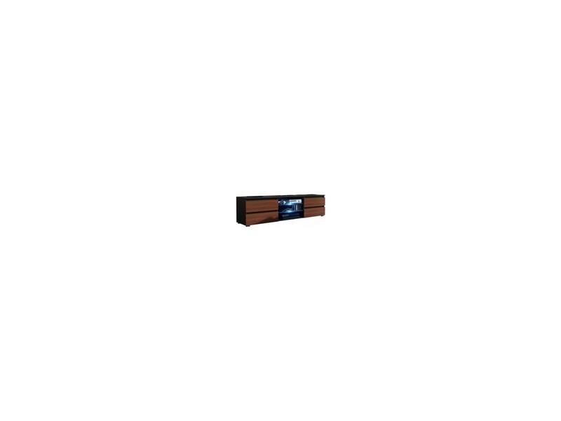 Meuble tv 150 cm noir mat / aspect noyer + led rgb